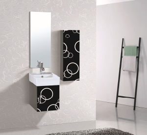 PVC White and Black Painted Bathroom Cabinet