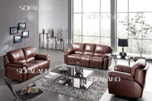 Brown Color Thick Seat Cushion and Back Leather Recliner Sofa