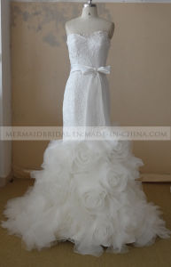 Mermaid Ivory Applique Lace Wedding Dress with Sash (M1312124)