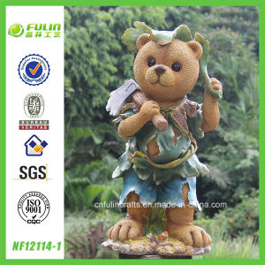 "23.4"" Working Cartoon Bear Statue for Garden Decoration (NF12114-1)"