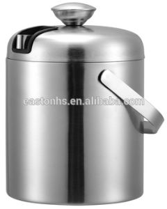 Double Layers Stainless Steel Ice Bucket with Concealed Ice Tong pictures & photos