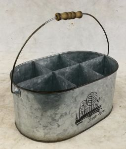 Natural Oval Tin Metal Bucket Divided