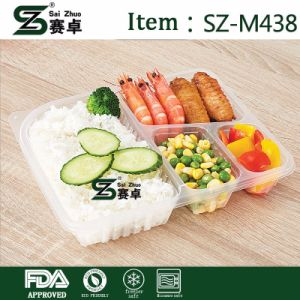 FDA Certifications Disposable Plastic 4 Compartment Food Container with Airtight Lid pictures & photos