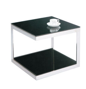 Black Tempered Gl Square Practical Side Table