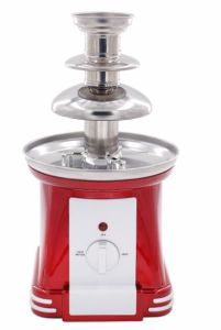Retro Mini Electric 3 Tiers Party Red Chocolate Fondue Fountain Making Machine