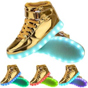 High Top LED Light Lace up Sneaker with USB Cable Line pictures & photos