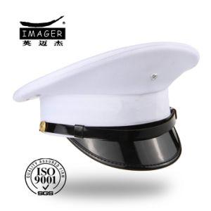 China Plain Style Navy Senior Captain Hat with Black Strap