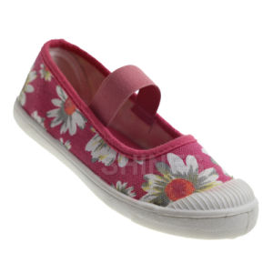 Flower Print Girl′s Canvas Injection Shoe
