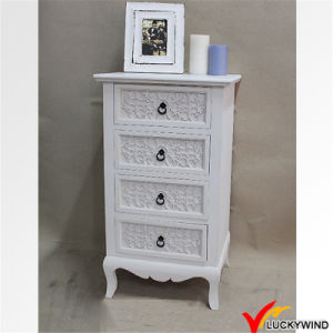 China Floral Carving French Antique White Tallboy Chest Of Drawer
