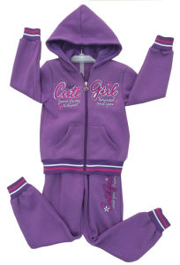 Fleece Kids Girl Sport Suit in Children ′s Wear for Cardigans Swg-129