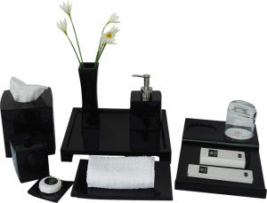 High Grade Resin Square Tissue Box with Black Shiny Finish pictures & photos