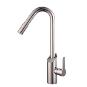 Contemporary Brass Single Handle Kitchen Faucet with Color Changing LED pictures & photos
