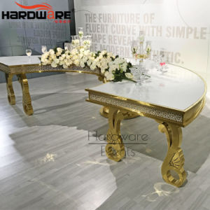 New Model Modern Gold Metal 10 Seater Half Round Dining Table
