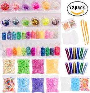 DIY Color Foam Ball Slime 72 Pack Set Tarragon Gold Glitter Piece Fruit  Piece Slime Making Kit Hot DIY Toy Slime Kit for Kids