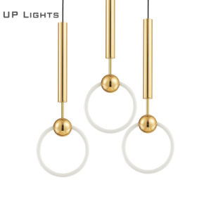 Modern Nordic Simple Gold Round Circular Chandelier Single Circle Ring LED Chandelier for Coffee Shop