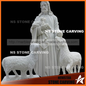 White Marble Natural Stone Jesus′s Sheep Sheepherd Church Statues pictures & photos