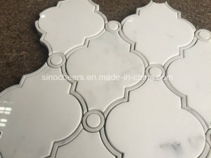 Bianco White Marble Diamond Pattern Water Jet Mosaic for Wall Tile pictures & photos