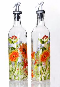 Glass Bottle with Sunflower Decal in Glassware Kitchenware