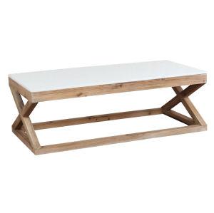 China Cross Leg Rectangular Wood Marble Top Coffee Table Price