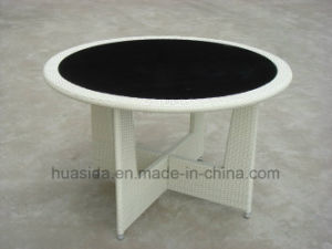 Powder Coated Aluminum Rattan Table with Tempered Glass Table Top pictures & photos