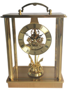 China Antique Wooden Desk Clock With Rotating China Antique Wooden