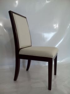 Wooden Frame with White PU Upholstered Dining Chair