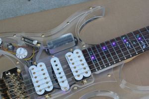 Hanhai Music / Transparent Acrylic Electric Guitar with Lights on Fretboard pictures & photos