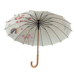 16K Wooden Shaft Wood Curve Handle Rain Umbrella (MP6020) pictures & photos