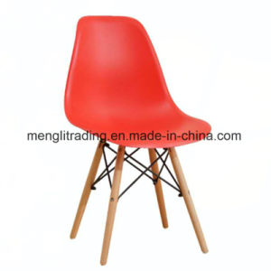 Black Ems Style Side Chair Wooden Legs Dining Room Chairs No Armless Molded Plastic Seat Dowel