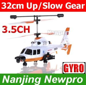 Newest 32cm 3.5channel Gunship Military RC Helicopter with Gyro+Flashlights+Up/Slow Speed Gear (SM7037(T))