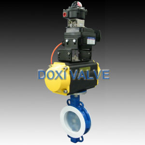 Pneumatic Operated PFA Lined Butterfly Valve for Chemical Solution pictures & photos