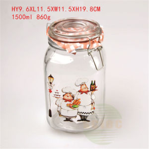 1500ml Candy Glass Jar Food Container with Glass Lid