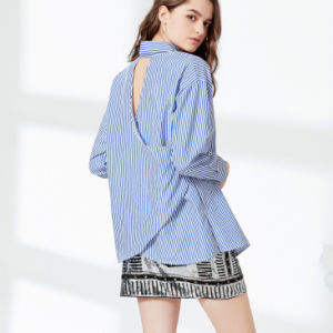 Fashion Women Leisure Slim Hollow Back Stripe Embroidery T-Shirt Blouse pictures & photos
