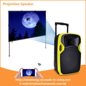 Professional Manufacturer Active Portable Speaker with LED Projector and Screen