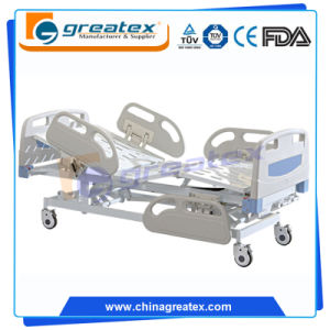 3 Crank Manual Hospital Bed with ABS Safe Rail Guard