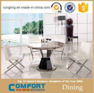 Round Marble Top Stainless Steel Dining Table With Rotating Centre