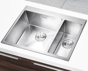 Ss304 Stainless Steel Handmade Kitchenware Sink of Double Bowl (YX6550)