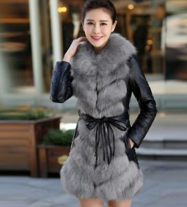 2015 New Factory Price Lady′s Faux Fox Fur Coat