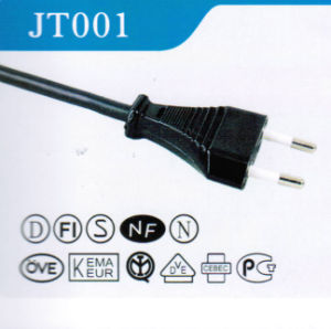 Europe 2 Prong Power Cord Plug with VDE Approval (JT001) pictures & photos