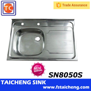 Size 1000x500mm Single Bowl Kitchen Sink With Drainboard One Piece Pressing