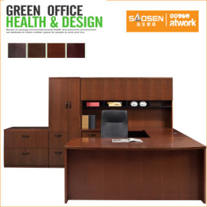 USA Office Furntiure Walnut MDF Veneer L Shaped Office Desk with Credenza