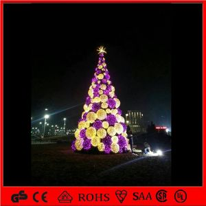 h 5m outdoor lighted metal christmas ball tree led street lighting