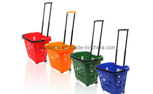 Supermarket Plastic Rolling Shopping Basket with Handle pictures & photos