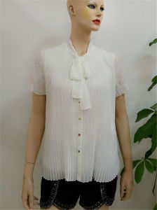 f1d2a1201a8042 Wholesale Womens Clothing 2017 New Fashion Short Sleeve Chiffon Blouse  Design Pleated Women White Blouses