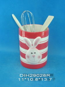 Hand-Painted Ceramic Utensil Holder for Easter Decoration