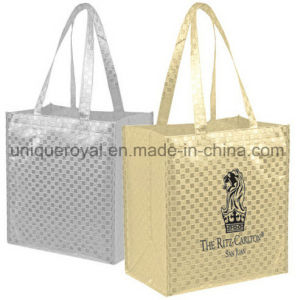 100 GSM Non Woven Gloss Checkered Laminated Coating Tote Bag pictures & photos