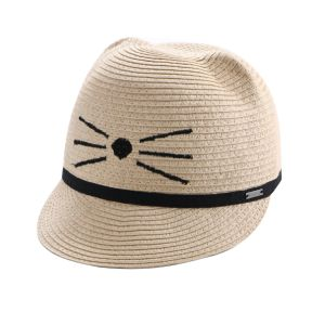 Straw Baseball-Style Cap Featuring Playful Cat Ears
