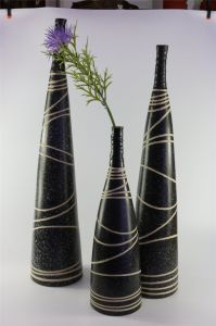 Black and White Pattern Straight High-Shaped Ceramic Decorative Vase