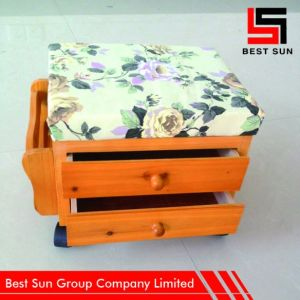 Moveble Wood Chinese Storage Stool with Drawer