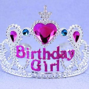 Heart Pink Rhinestone Wide Plastic Happy Birthday Tiara pictures & photos